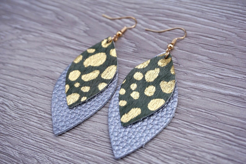 Layered Speckle Leather Leaf Earrings  Silver Green Gold image 0