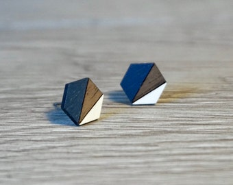 Geometric Earrings | Geometric Stud Earrings | Minimalist Earrings | Wood Earrings | Hypoallergenic Earrings | Navy Blue and White