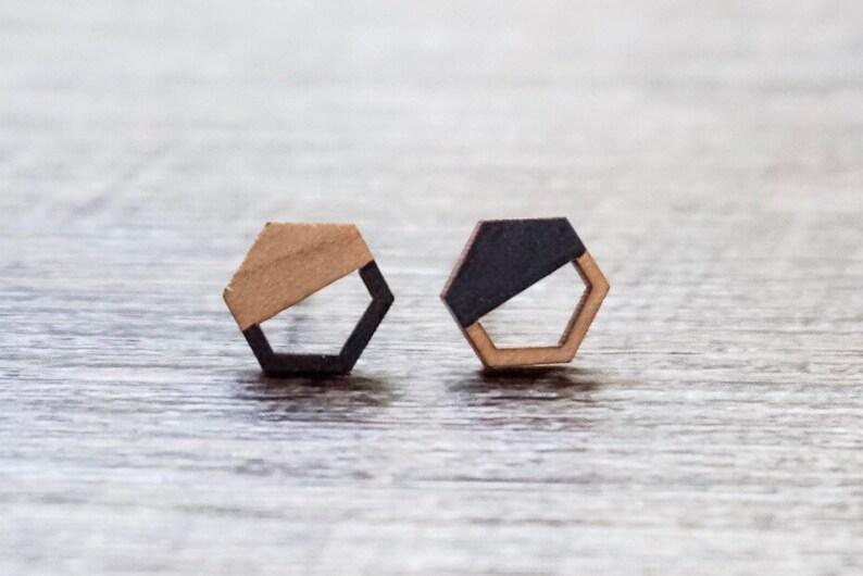 Geometric Earrings  Geometric Stud Earrings  Wood Hexagon image 0