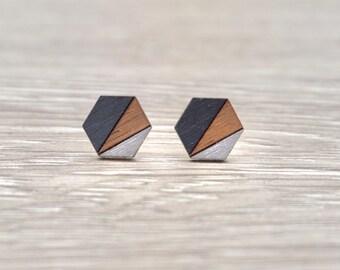 Hexagon Earrings | Geometric Stud Earrings | Minimalist Earrings | Wood Earrings | Modern | Hypoallergenic Earrings | Gray and Silver