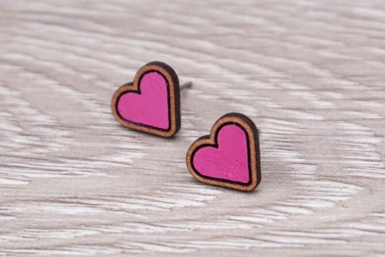 Heart Earrings  Heart Stud Earrings  Wood Heart Earrings  image 0
