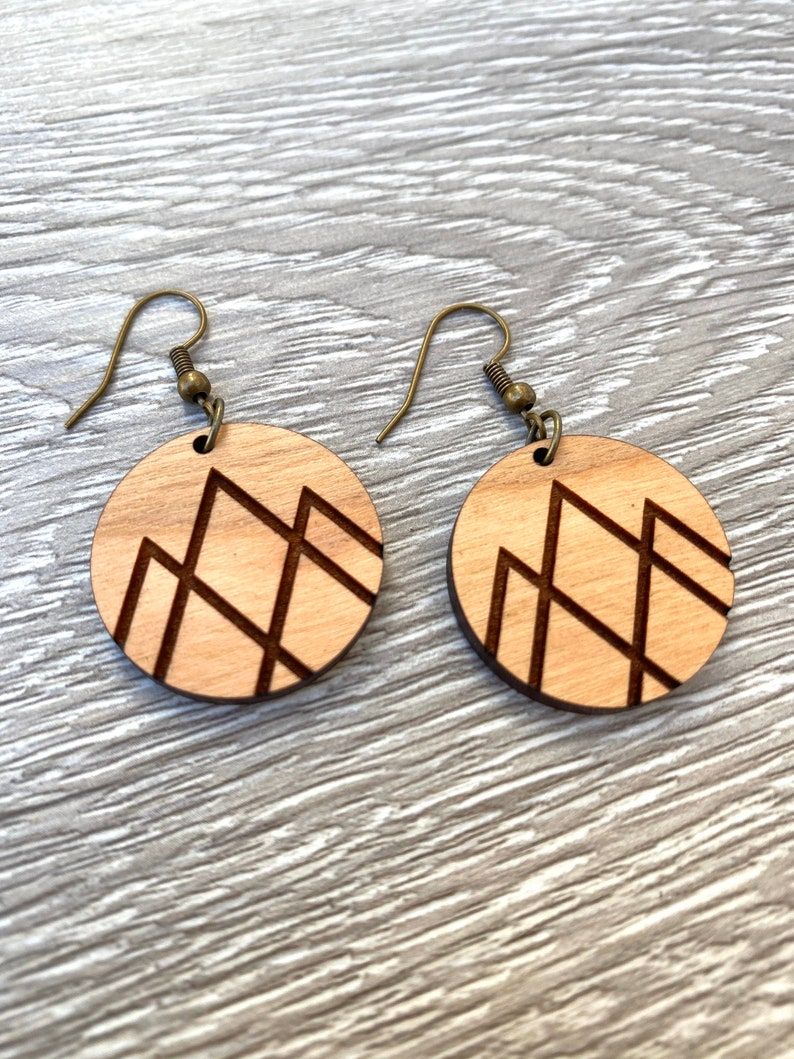 Mountain Earrings  Engraved Wood Earrings  Modern Mountain image 0