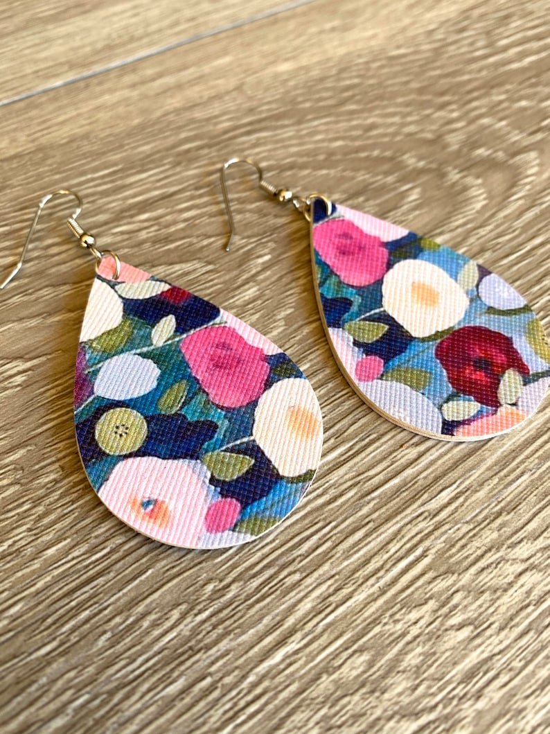 Faux Leather Teardrop Earrings  Flower Faux Leather Earrings image 0