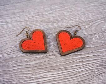 Heart Earrings | Valentines Earrings | Wood Heart Earrings | Walnut Wood, Red Cork