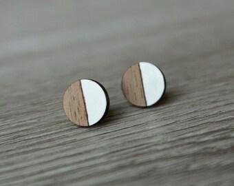 Circle Earrings   Wood Stud Earrings   Minimalist Earrings   Wood Earrings   Hypoallergenic Earrings   Walnut and White