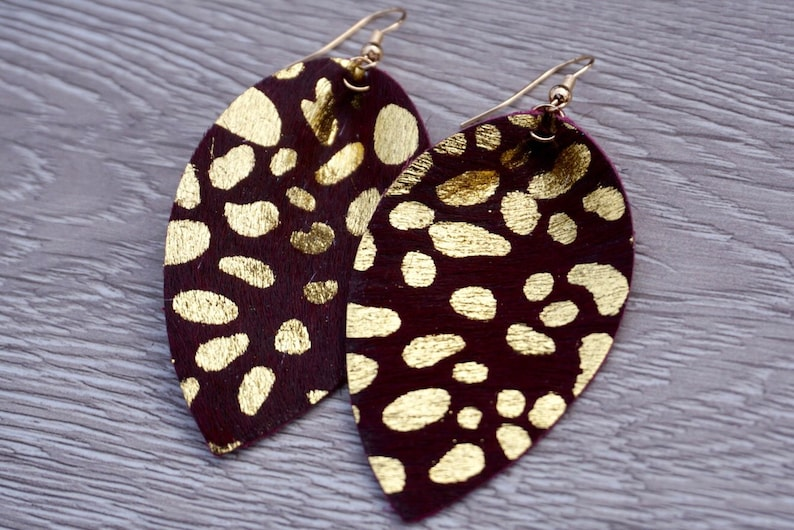 Gold Speckle Leather Leaf Earrings  Red Wine image 0