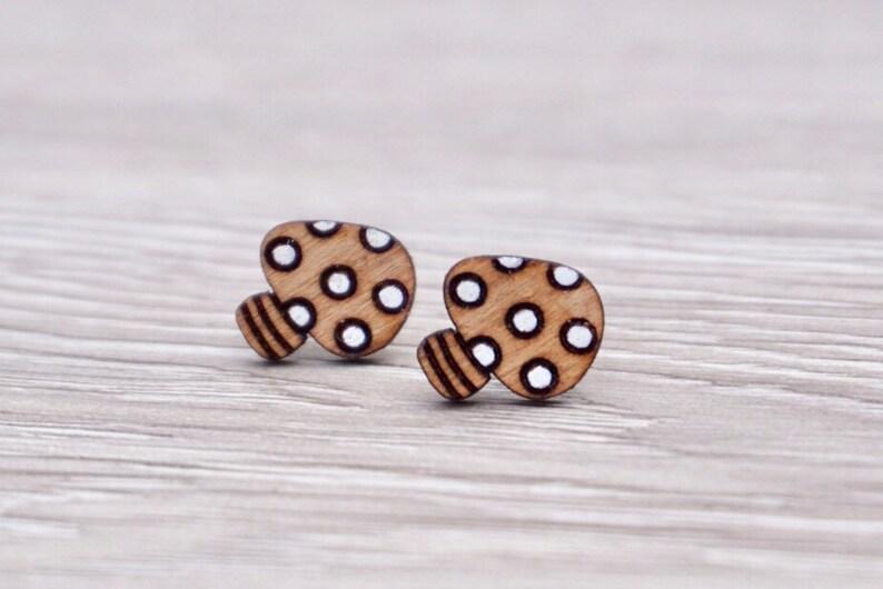 Engraved Mushroom Earrings  Wood Mushroom Earrings  Hand image 0