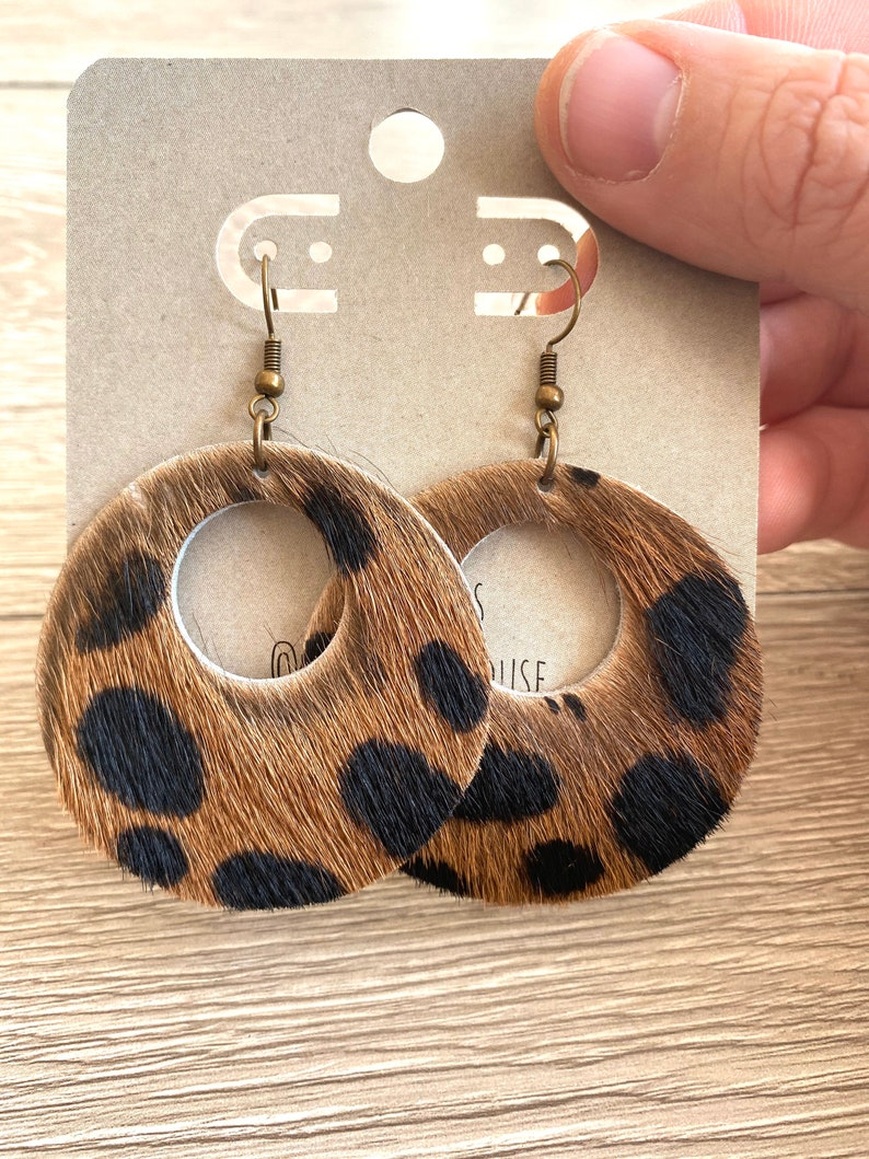 Leather Circle Earrings  Textured Hair On Earrings image 0