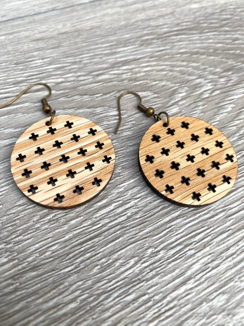 Modern Plus Cut Out Earrings  Wood Circle Earrings  Solid image 0
