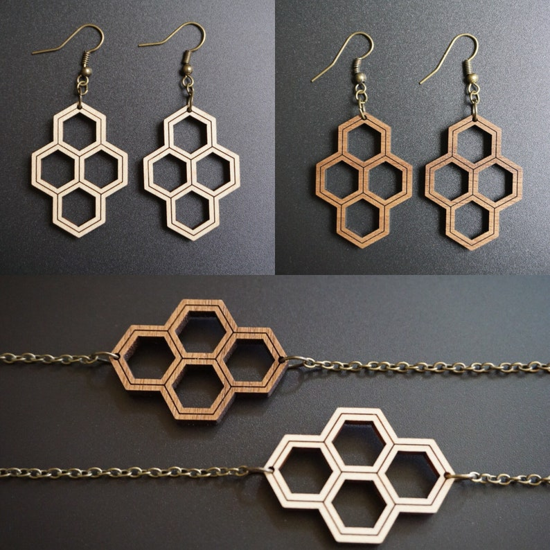 Wood Honeycomb Earrings and Necklace Set image 0