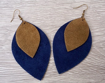 Stacked Leather Earrings   Suede Earrings    Leather Leaf Earrings   Leather Suede Leaf Earrings   Statement Earrings   Blue and Brown