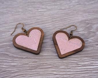 Heart Earrings | Valentines Earrings | Wood Heart Earrings | Walnut Wood, Pink Cork