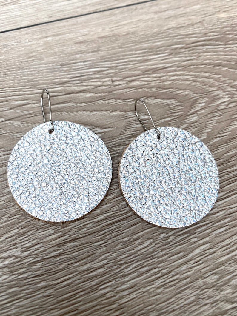 Leather Circle Earrings  Silver Earrings  Metalic Leather image 0