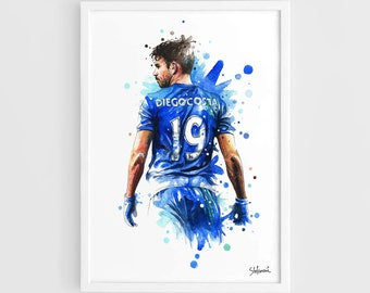Diego Costa Chelsea FC - A3 Wall Art Print Poster of the Original Watercolor Painting Football Poster Soccer Poster  sc 1 st  Etsy & Chelsea wall art   Etsy