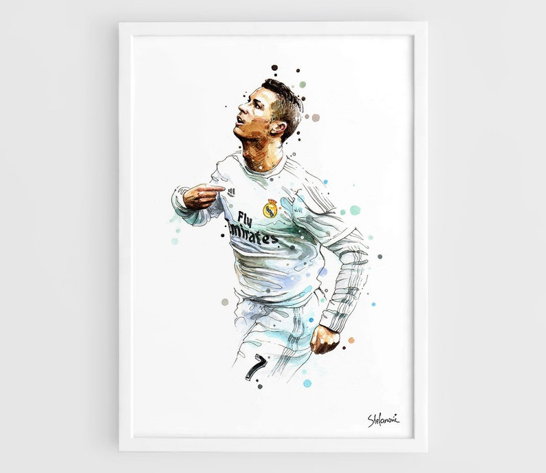 new product 2d9d8 21336 Cristiano Ronaldo Real Madrid CR7 - A3 Wall Art Print Poster of the  Original Watercolor Painting Football Poster Soccer Poster
