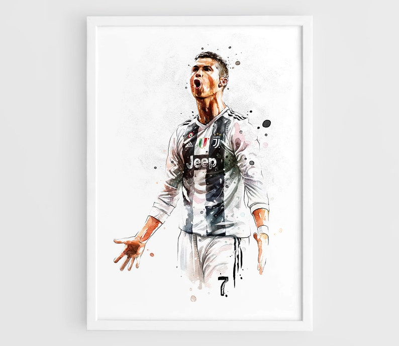 new product b2bc6 584f9 Cristiano Ronaldo Juventus 2018 - Wall Art Print Poster of the Original  Watercolor Painting Football Poster Soccer Poster