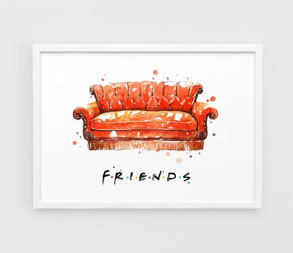 Sofas And Lounge Chairs In Tv Shows: Friends TV Show Art Sofa Friends TV Series Art Print