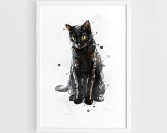 Black cat art | Etsy on