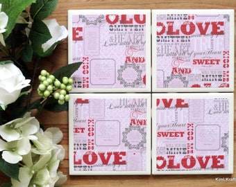 Valentine's Day Decor - Ceramic Tile Coasters - Coaster Set - Table Coasters - Valentine's Day Coasters - Coaster - Tile Coaster