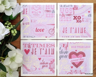Valentine's Day Coasters - Coasters - Drink Coasters - Tile Coasters - Ceramic Coasters - Valentine's Day Decor - Ceramic Tile Coasters