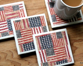 American Flag Coasters - Coasters - Drink Coasters - Tile Coasters - Ceramic Coasters - Coaster Set - Housewarming Gift - Table Coasters