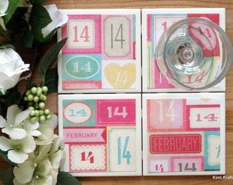 Coaster Set - Table Coasters - Valentine's Day Coasters - Coaster - Tile Coaster - Coasters for Drinks - Coasters Tile - Handmade Coasters