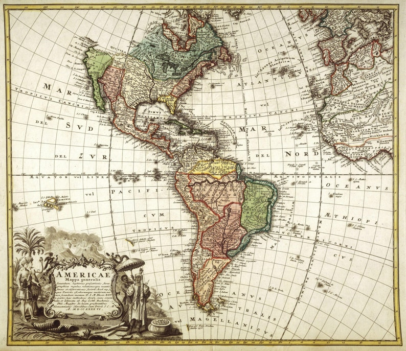 Americas Antique Map Print Old World Map Vintage Map High Etsy