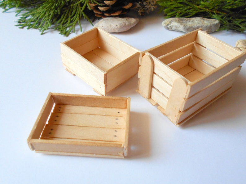 Set Of 3 Miniature Wooden Crates Plain Wood Dollhouse Accesories 112 Scale Mini Wooden Vintage Crate Dollhouse Basket Box Miniature Box