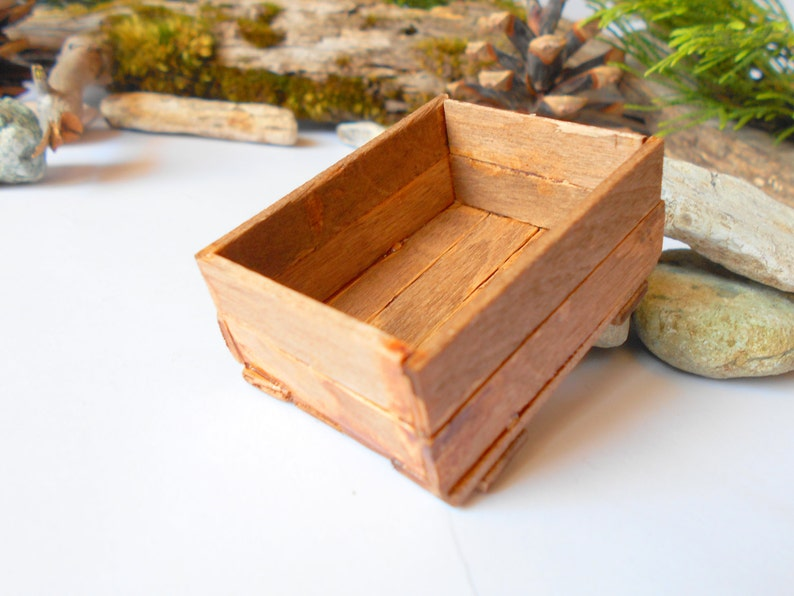 Miniature Wooden Crate Brown Chest Box Dollhouse Accesories 112 Scale Mini Wooden Vintage Crate Dollhouse Basket Box Miniature Box