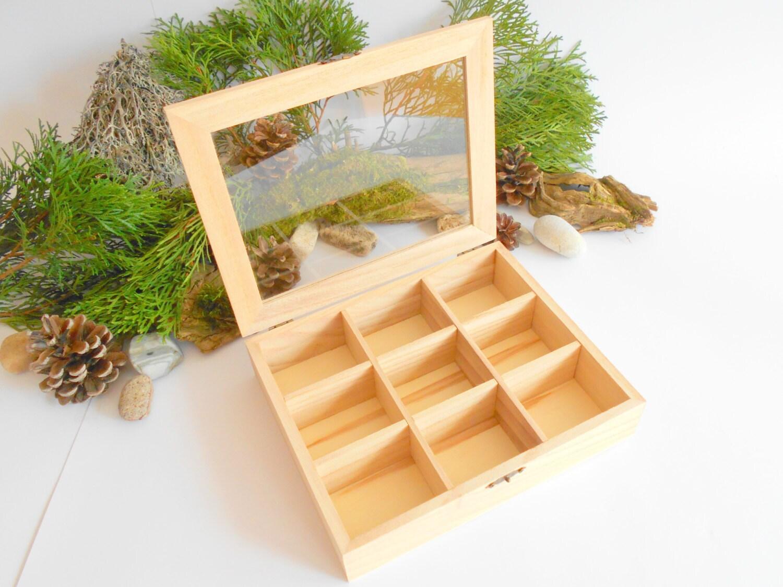 Teebox mit Glas Display-schlicht Kiefer Holz-9 Fächer Anzeige | Etsy