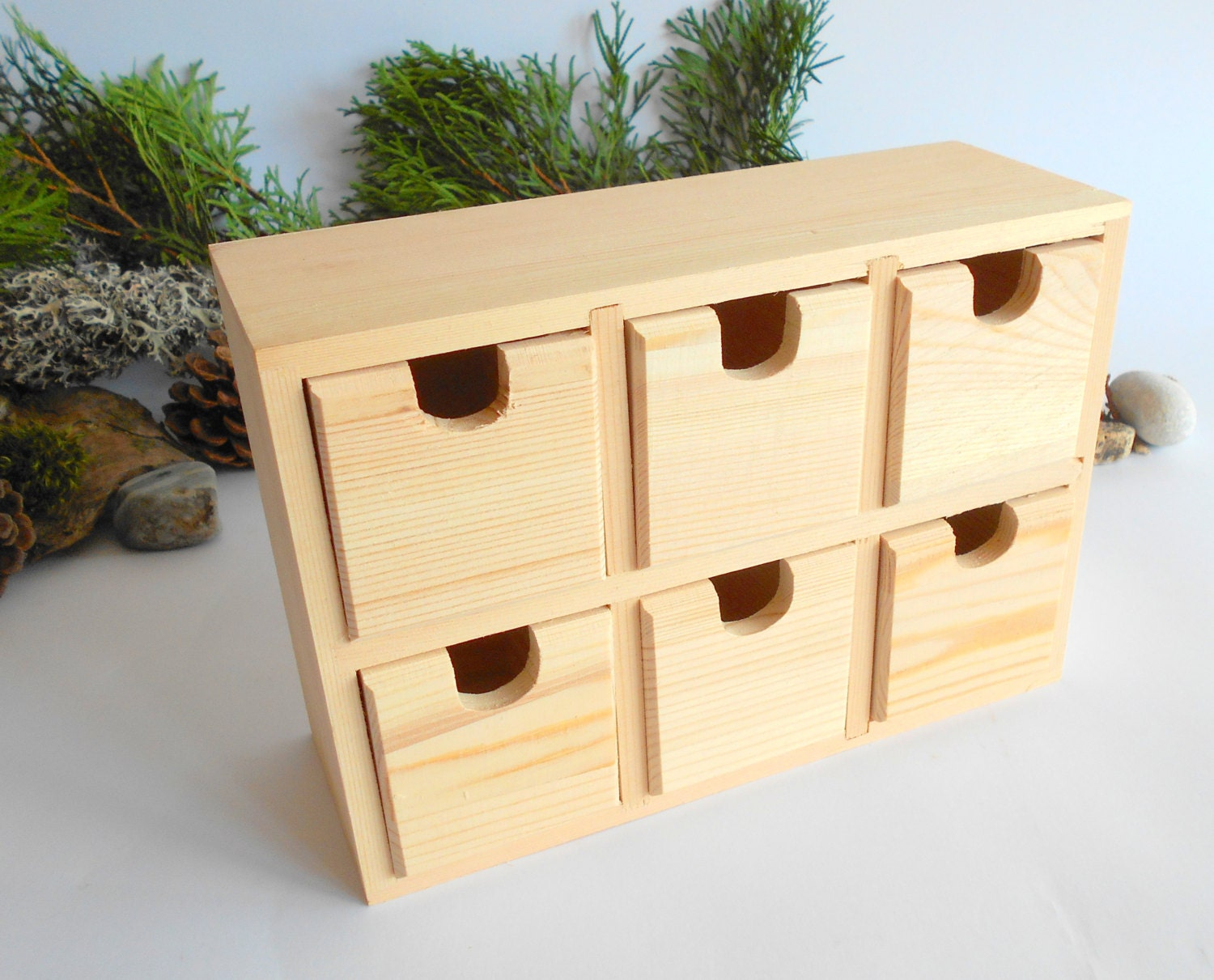 Wooden box with drawers- Wooden desk organizer- Keepsake Jewelry Box -  Apothecary Cabinet - Desktop Organizer- chest of drawers for herbs