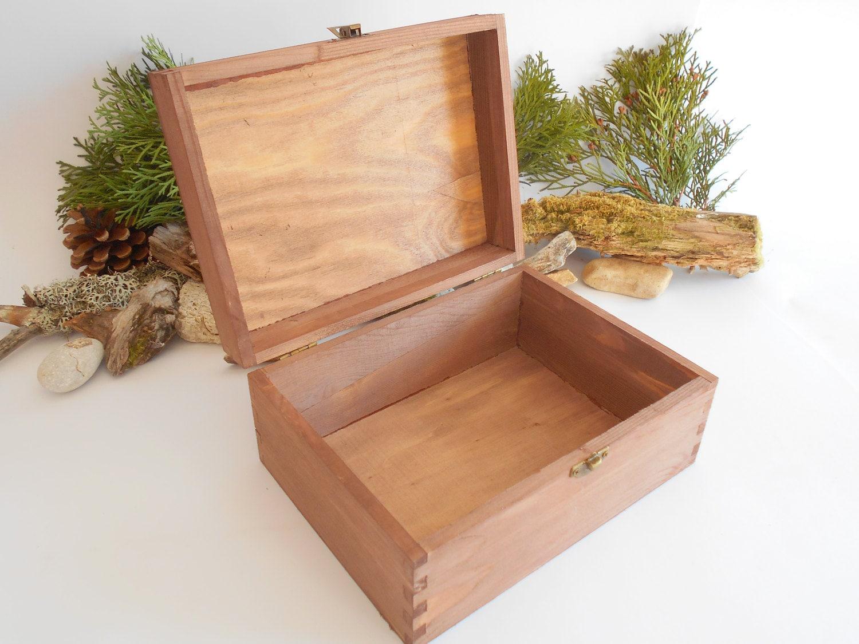 Boîte en bois poitrine - grand coffre coffre coffre contenant boîte brun-boîte en bois avec bronze couleur charnières-pin bois souvenir - coffre en bois - 11.8