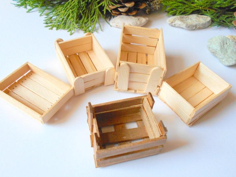 Set Of 5 Miniature Wooden Crates Plain Wood Dollhouse Accesories 112 Scale Mini Wooden Vintage Crate Dollhouse Basket Box Miniature Box