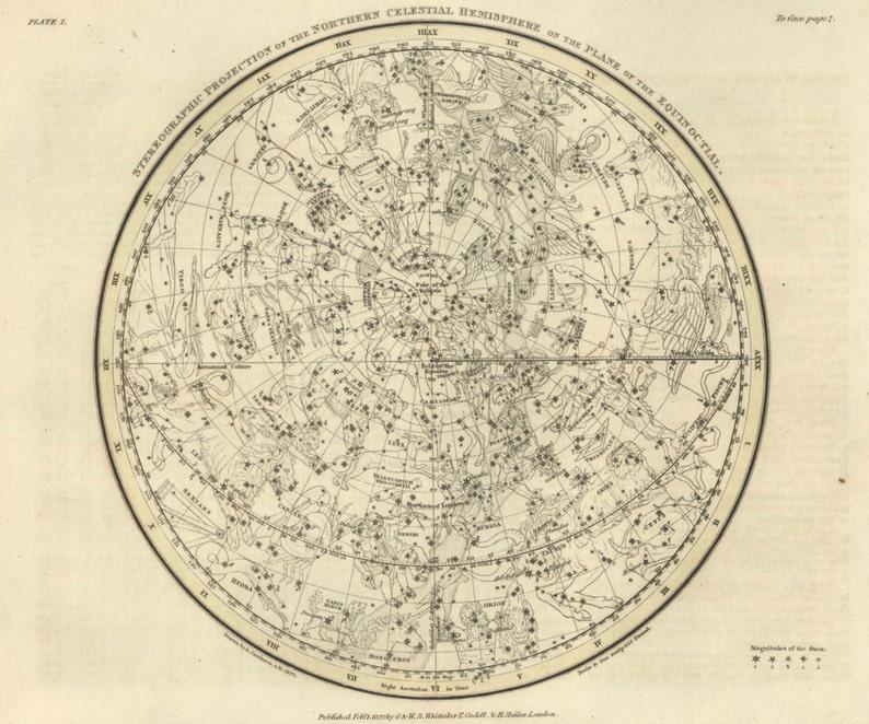 Star Map Northern Celestial Hemisphere Map Print Antique Etsy