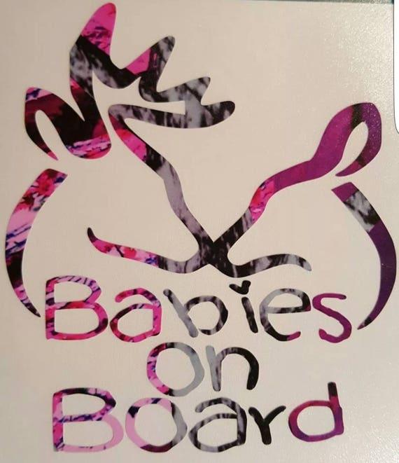 """Hook Babies On Board Car Vinyl Decal 5/"""" Baby Muddy Fish Kids Browning Deer Girl"""