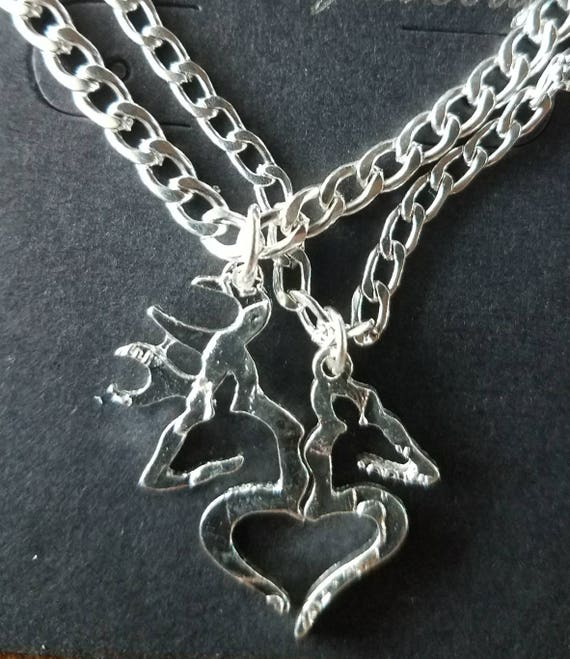 Her Buck His Doe 2 Piece Necklace Set Gift For Couples Etsy