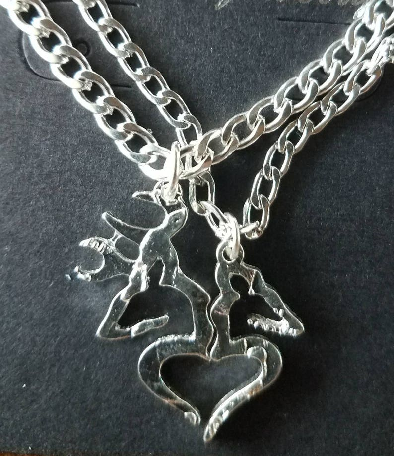 7b216f03ac Her Buck His Doe 2 Piece Necklace Set! Gift For Couples, *Silver Toned* His  and Hers Necklaces Buck & Doe Country Wedding Anniversary Lovers