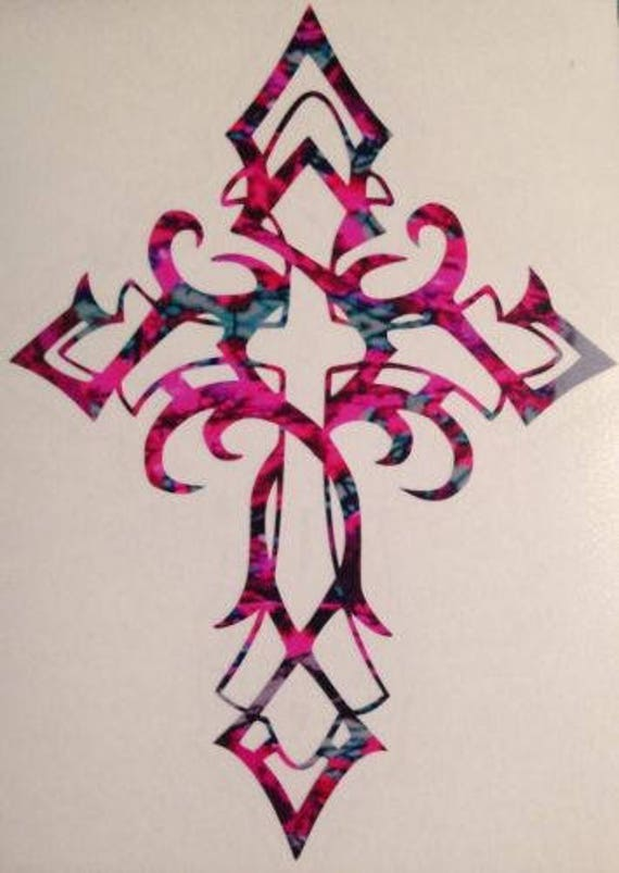"""5/"""" tall Tribal Cross Window Decal ~ Choose Decal Color ~ Great Gift"""