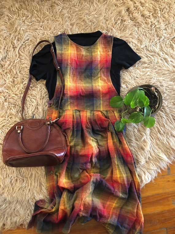 Rainbow Plaid Flannel Button Dress