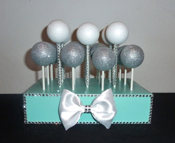aqua cake pop stand robin egg blue wedding cake ball display