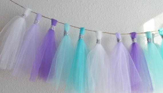 frozen aqua teal lavender purple tulle tassel garland bling | Etsy
