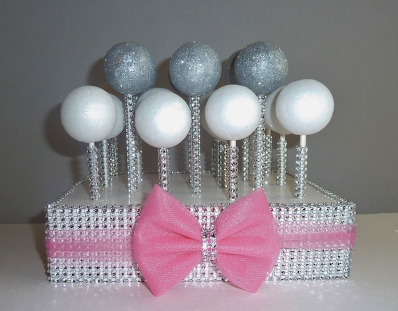 Cotton Candy Hot Pink Tulle Bow Silver Bling Cake Pop Stand Etsy