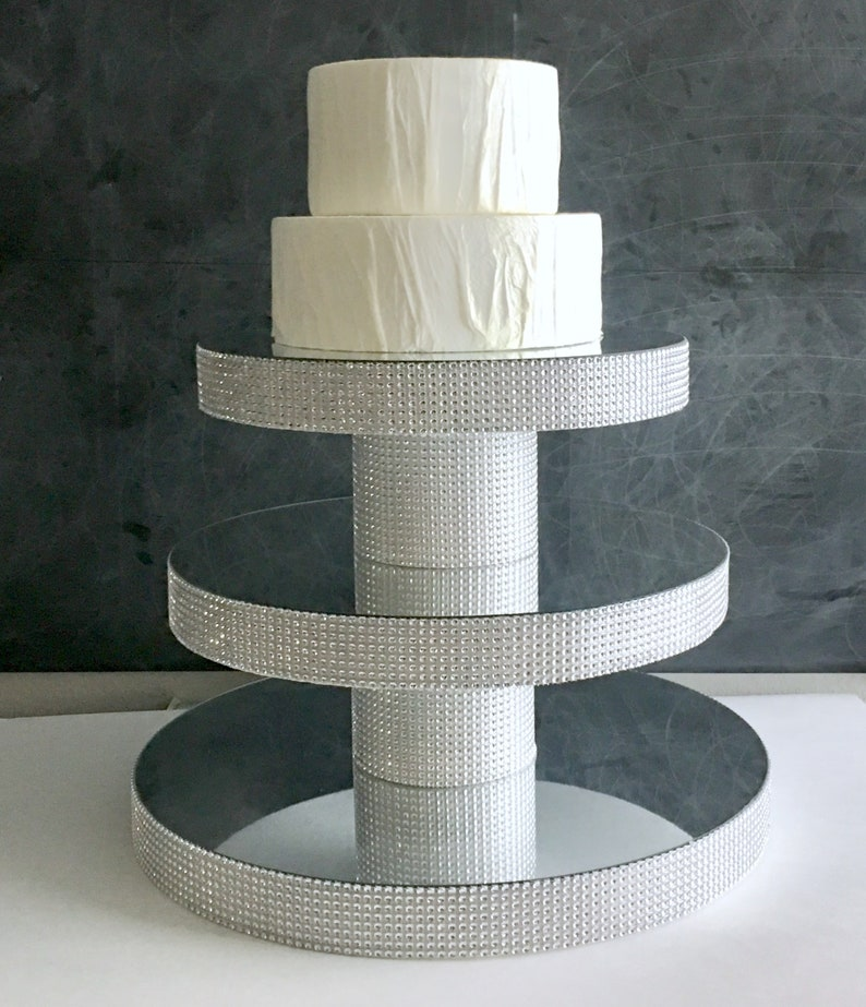 Diy 3 Tier Wedding Cupcake Stand Tower Mirror Top Bling Faux Rhinestone Candy Buffet Dessert Bar Table Quinceanera Bat Mitzvah Shower Party