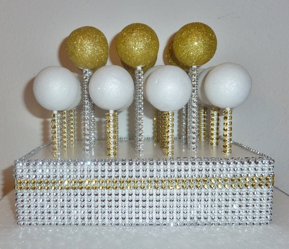gold silver bling wedding cake pop stand rustic glam etsy