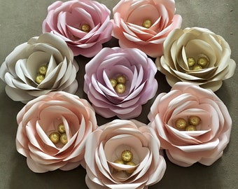 """Blush pink paper rose backdrop for wedding or nursery wall decor with gold glitter accents -giant paper flower wall art is 5"""" in diameter"""