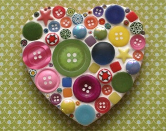 Multicoloured Heart D.I.Y. Mosaic Craft Kit for adults and children by Lily Mosaics