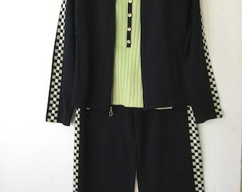 86f6bc520487 St John Sport by Marie Gray 3 Pc Pant Suit Jacket Tank Pants Black Lime  White Trim size S-M