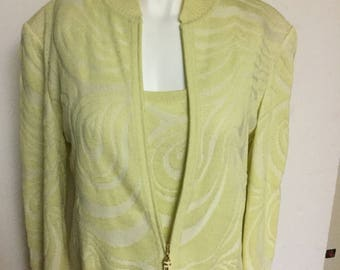 b9f4eb58ee11 St John Sport Marie Gray 3 Pc Pant Suit Jeans Tank Jacket Light Lime Green  Yellow size S M