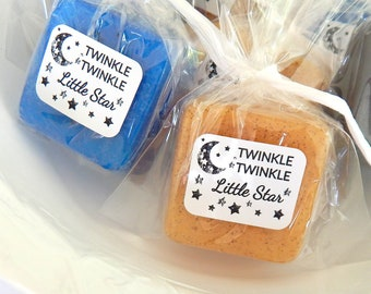Twinkle Twinkle Little Star Baby Shower Favors Soap Favors Stars Moon Gender Neutral Baby Shower Nursery Rhyme Baby Boy Blue Gold Silver