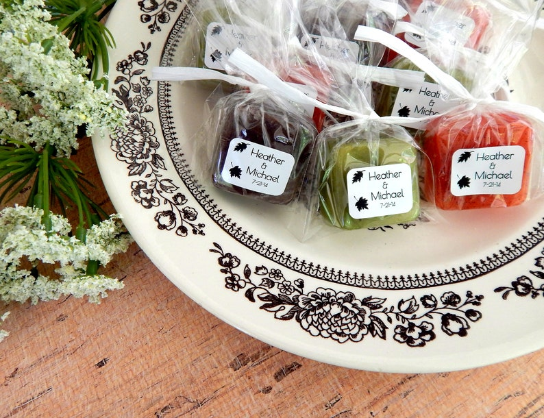 Fall Wedding Favors for Guests Falling Leaves Mini Soap image 0